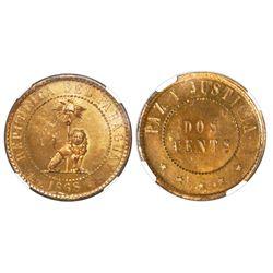 Paraguay, brass proof pattern 2 centesimos, 1868, NGC PF 65.