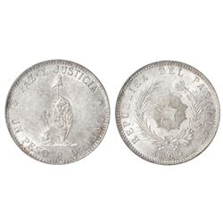 Paraguay, 1 peso, 1889, PCI MS60.