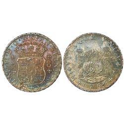 Lima, Peru, pillar 8 reales, Ferdinand VI, 1758JM, dots over both mintmarks.