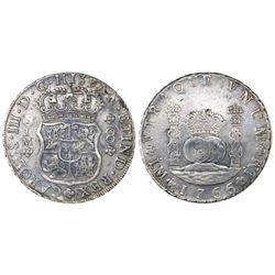 Lima, Peru, pillar 8 reales, Charles III, 1766/5JM, dots over both mintmarks, dot over erased floret