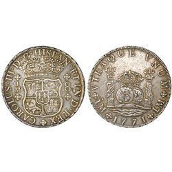 Lima, Peru, pillar 8 reales, Charles III, 1771JM, dot over left mintmark only.