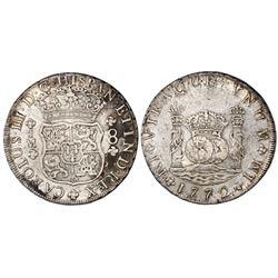 Lima, Peru, pillar 8 reales, Charles III, 1772JM, dot over left mintmark only.