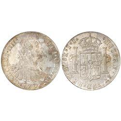 Lima, Peru, bust 8 reales, Charles IV, 1796IJ, NGC MS 61.