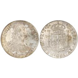 Lima, Peru, bust 8 reales, Charles IV, 1796IJ, NGC MS 61.