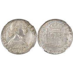 """Lima, Peru, bust 8 reales, Ferdinand VII transitional (""""imaginary"""" bust), 1809JP, king's name as FER"""