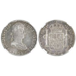 Cuzco, Peru, bust 8 reales, Ferdinand VII, 1824G, no dot before REX, NGC F 15.