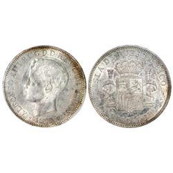 Puerto Rico (under Spain), 1 peso, Alfonso XIII, 1895PG-V, PCGS AU55.