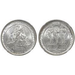 San Marino, 20 lire, 1935R, NGC MS 63.