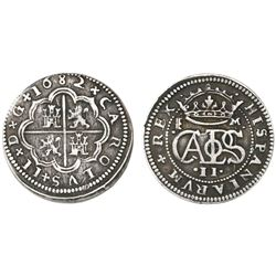 Segovia, Spain, milled 2 reales  pistareen,  Charles II, 1682M.