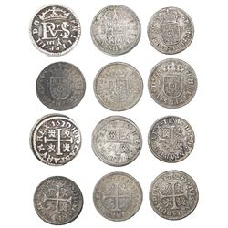 Lot of six Spanish milled 1/2R: Segovia, 1620/14, assayer cross-topped A; Cuenca, 1719JJ; Madrid, 17