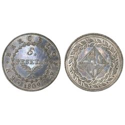 Barcelona, Spain, Joseph Napoleon, 5 pesetas, 1809.