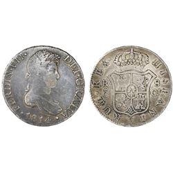 Cadiz, Spain, bust 8 reales, Ferdinand VII, 1814CJ.