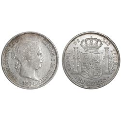 Madrid, Spain, 20 reales, Isabel II, 1860, six-point stars.
