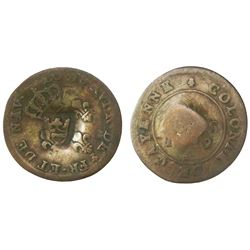 St. Barts, bronze 1 black dogg, crown countermark (ca. 1790s) on a French Cayenne 2 sous, 1789A, NGC