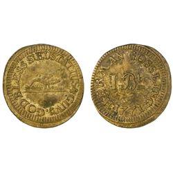 Herman Gosling, St. Eustatius, brass 1 bitt token, 1771, NGC XF Details / rev graffiti.