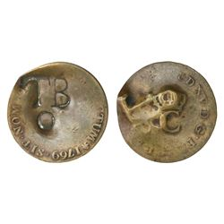 "Tobago, bronze 2-1/4 pence (""stampee""), TB/o countermark (1798) on French Guyana 2 sous of 1769."