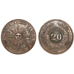 Uruguay, copper 20 centesimos, 1840.
