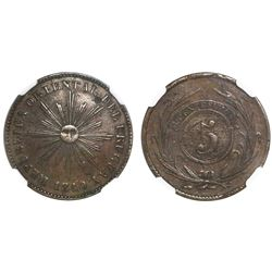 Uruguay, copper 5 centesimos, 1840, heavy flan (extremely rare), NGC XF 40 BN.