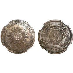 Uruguay, copper 5 centesimos, 1855, NGC AU 55 BN.