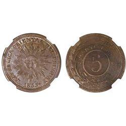 Uruguay, copper 5 centesimos, 1855, NGC AU 50 BN.
