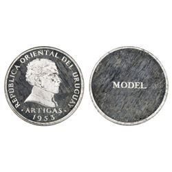 Uruguay, proof silver obverse trial strike for unissued peso-sized coin, 1953, Artigas.