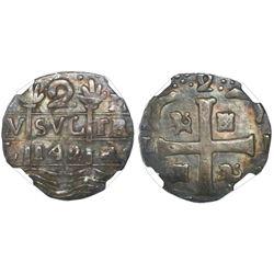 "Caracas, Venezuela, ""imitation cob"" 2 reales, date ""142"" (early 1800s), NGC VF 30."