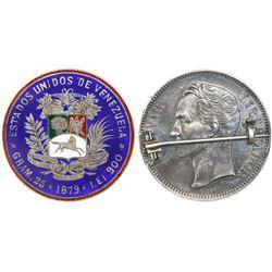 Venezuela,  GRAM. 25  (5 bolivares), 1879, enameled on reverse and mounted to pin on obverse.