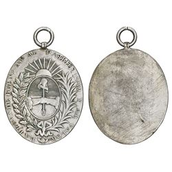 Buenos Aires, Argentina, uniface oval silver medal with hanger (military award), Rio Colorado campai