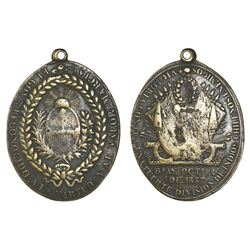 Argentina, oval brass Rosas medal for the Indian Uprising of October 2, 1837, rare.