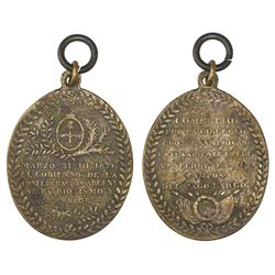 Argentina, oval brass military medal, 1839, Battle of Pago Largo, rare.