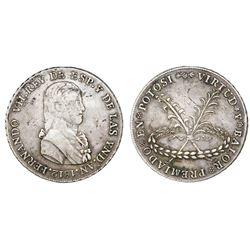 Potosi, Bolivia, silver 8R-sized proclamation medal, Ferdinand VII, 1812.