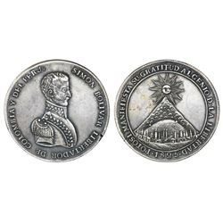 Potosi, Bolivia, large silver Bolivar medal with mountain of Potosi, 1825.