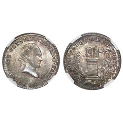 Potosi, Bolivia, 1 sol-sized silver medal, 1844, Ballivian, NGC MS 65, finest known in NGC census.