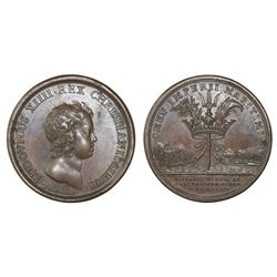 France (struck in Paris), copper medal, Louis XIV, 1643, naval victory at Cartagena (Colombia).