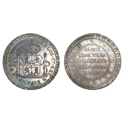 Orizaba, Mexico, silver 4-reales sized proclamation medal, Charles IV, 1790.
