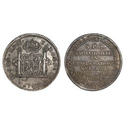 Puebla de Los Angeles, Mexico, silver 2 reales-sized proclamation medal, Charles IV, 1790.