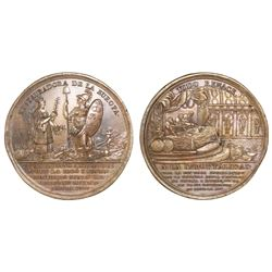 Mexico City, Mexico, large bronze medal, 1808, establishment of the Supreme Central Junta.