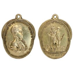 Mexico City, Mexico, gold-plated silver oval medal, 1809, New Spain merchants.