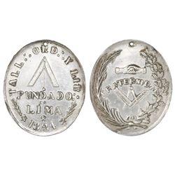 Lima, Peru, oval silver masonic medal, dated 1824.