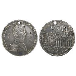 Cuzco, Peru, silver 8R-sized medal, 1825, Bolivar / liberation of Cuzco.