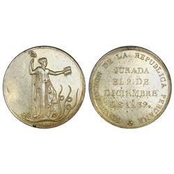 Peru, large gilt silver medal, 1839, Constitution.