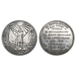 Peru, silver medal, 1926, Japanese commemoration of 100 years of Peruvian independence (1821-1921).