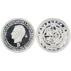 Puerto Rico (struck at the Mexico City mint), large proof silver medal, 1987, visit of Spanish King