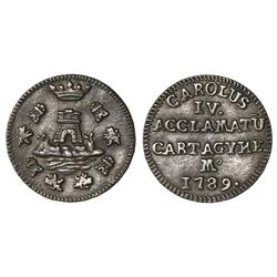 Cartagena, Spain, cast low-silver proclamation medal, 1789, PCGS AU 58, finest and only specimen in