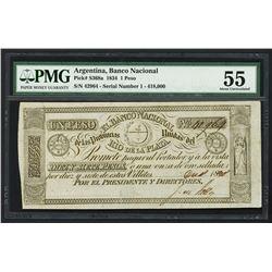 Rio de la Plata, Argentina, Banco Nacional de las Provincias, 1 peso, 1-12-1834, serial 42964, PMG A