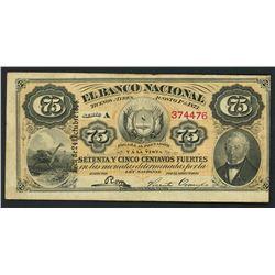 Buenos Aires, Argentina, Banco Nacional, 75 centavos fuertes, 1-8-1873, series A, serial 374476, wit