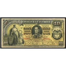 Bogota, Colombia, Banco Nacional, 10 pesos, 4-3-1895, series A, serial 233465.