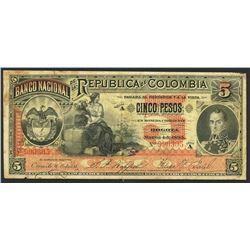Bogota, Colombia, Banco Nacional, 5 pesos, 4-3-1895, series A, serial 990305.