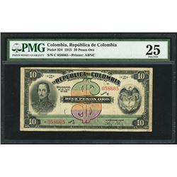 Bogota, Colombia, Republica de Colombia, 10 pesos oro, 20-7-1915, series C, serial 058665, PMG VF 25