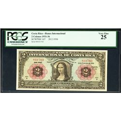San Jose, Costa Rica, Banco Internacional, 2 colones, 20-2-1936, series B, serial 831763, PCGS VF 25